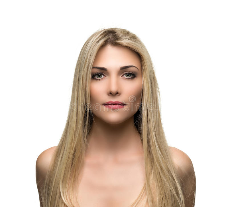 Mulher bonita com cabelo louro por muito tempo reto imagens de stock royalty free
