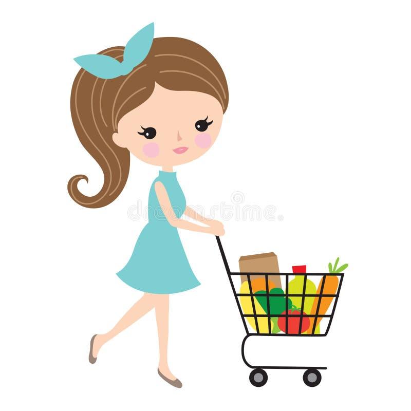 Mulher bonita com carro de compras na mercearia ilustração royalty free