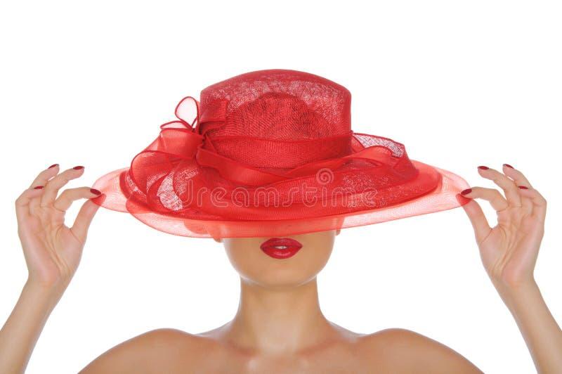 Mulher bonita com chapéu vermelho fotos de stock