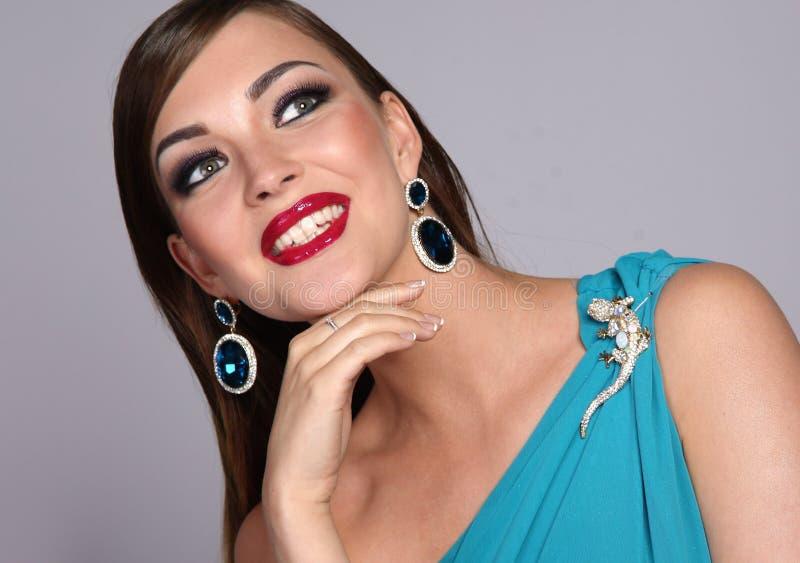 Mulher bonita com composição da noite fotografia de stock royalty free