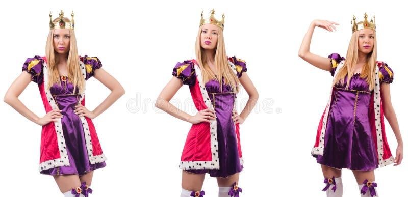A mulher bonita com a coroa isolada no branco fotografia de stock royalty free