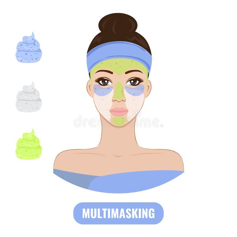 Mulher bonita com cuidado facial da máscara ilustração do vetor