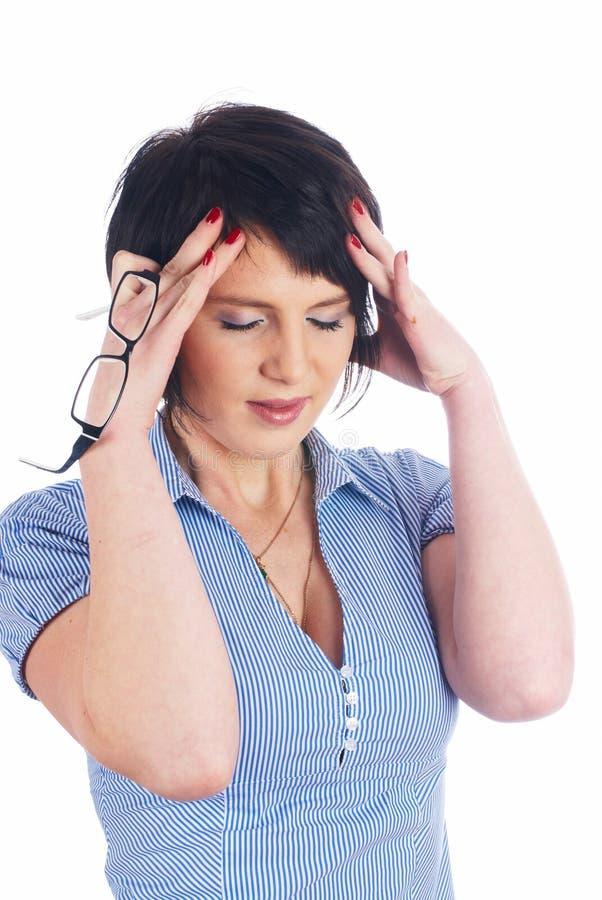 Mulher bonita com dor de cabeça foto de stock royalty free