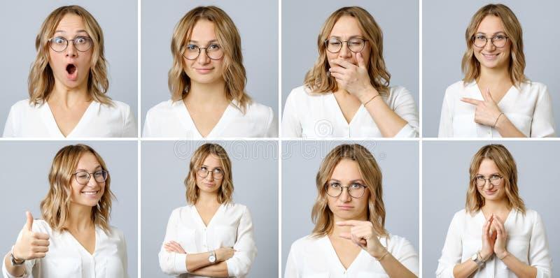 Mulher bonita com expressões faciais e gestos diferentes fotos de stock