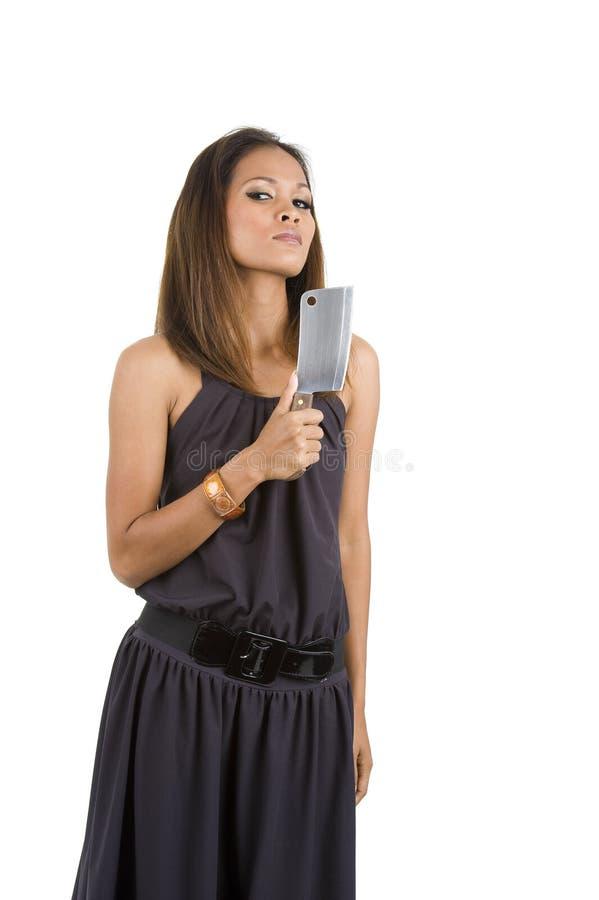 Mulher bonita com faca fotografia de stock royalty free