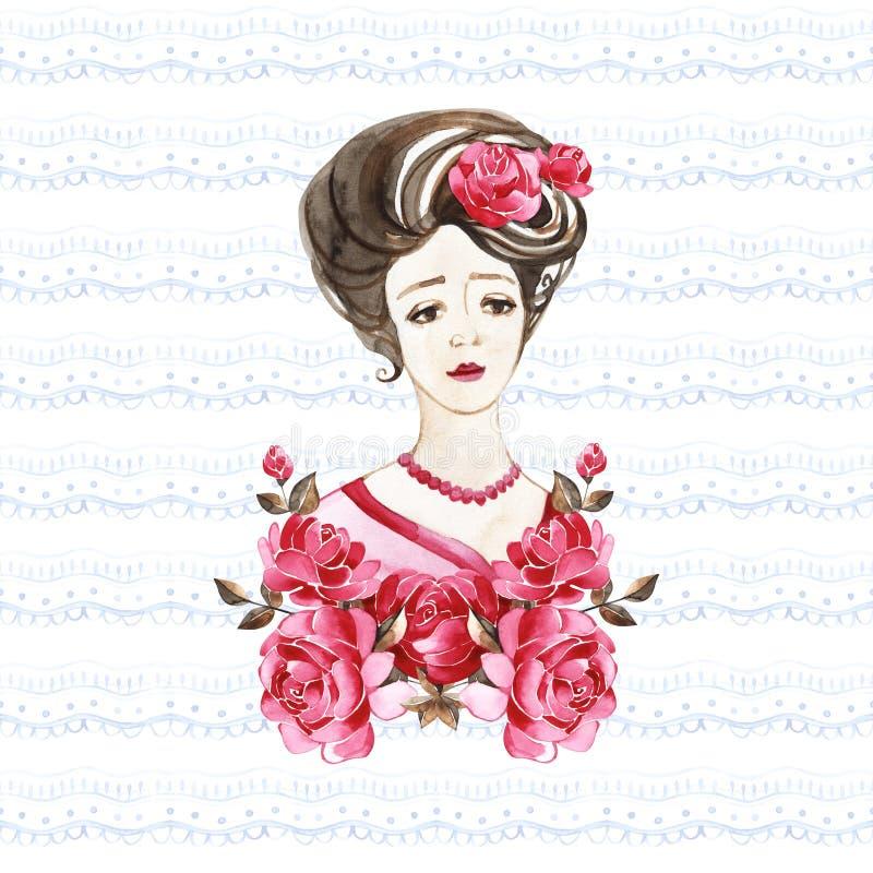 Mulher bonita com flores cor-de-rosa, ilustra??o da forma da aquarela Fundo rom?ntico para o dia das mulheres internacionais ilustração do vetor
