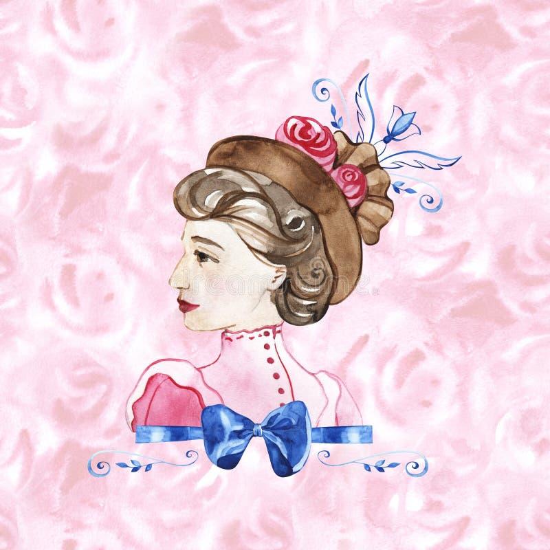 Mulher bonita com flores cor-de-rosa, ilustra??o da forma da aquarela Fundo rom?ntico para o dia das mulheres internacionais ilustração stock