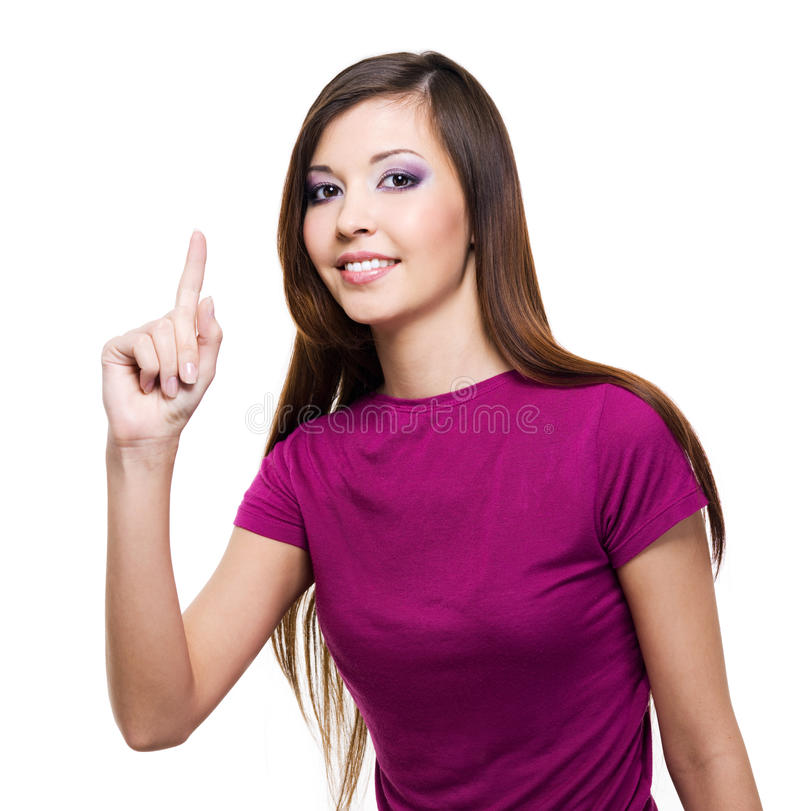 Mulher bonita com idéia grande fotografia de stock royalty free