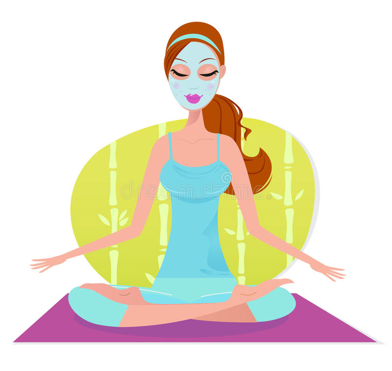 Mulher bonita com a máscara facial que faz a meditação ilustração do vetor