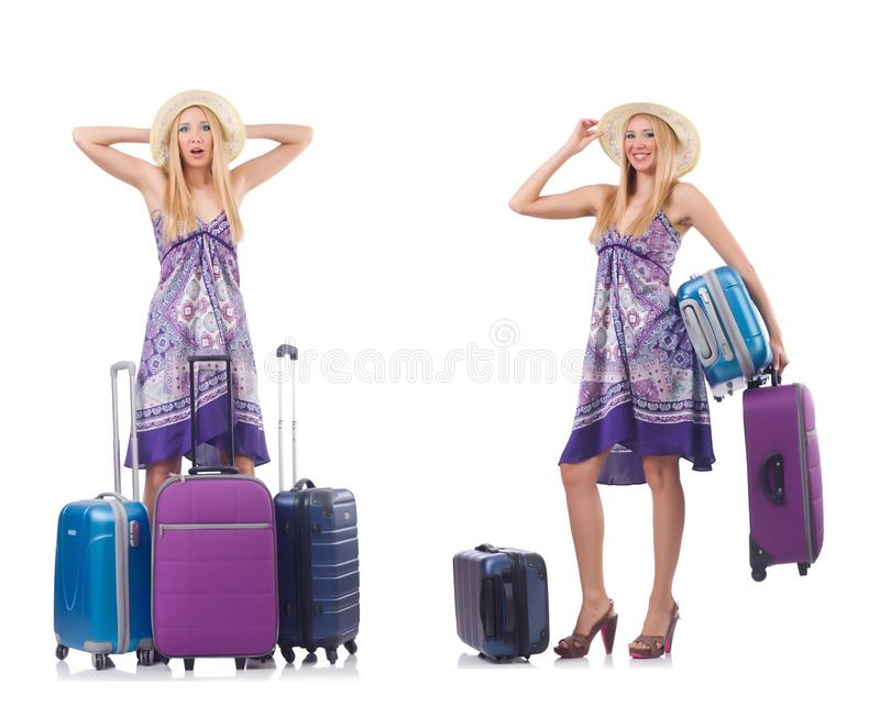 Mulher bonita com a mala de viagem isolada no branco foto de stock royalty free