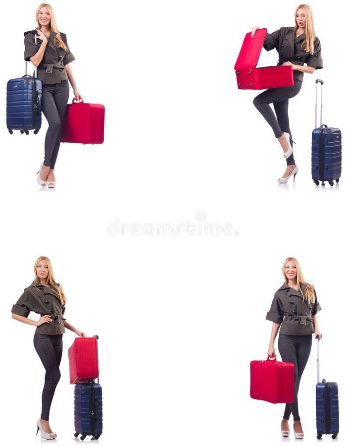 Mulher bonita com a mala de viagem no conceito das f?rias imagens de stock royalty free