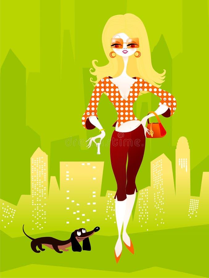 Mulher bonita com o cão ilustração stock