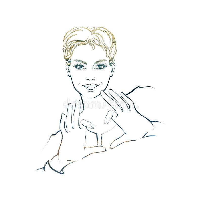 Mulher bonita com o cabelo curto, mostrando as mãos no formulário do coração ilustração royalty free
