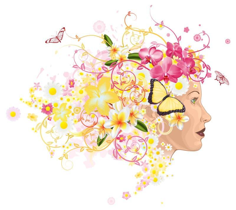Mulher bonita com o cabelo feito das flores ilustração do vetor