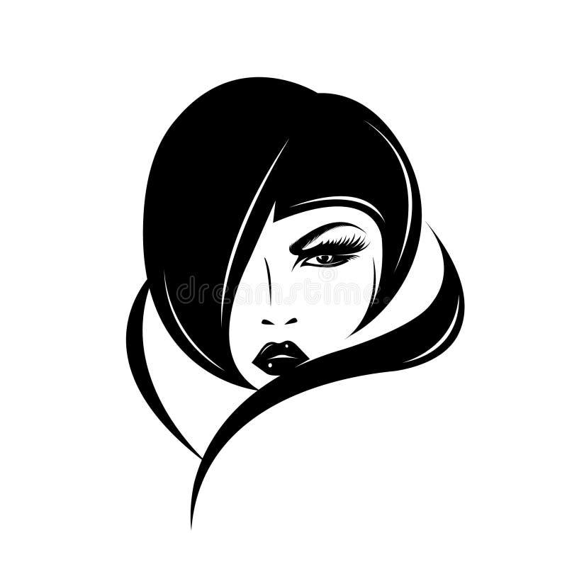 Mulher bonita com penteado retro e composição corajosa ilustração do vetor
