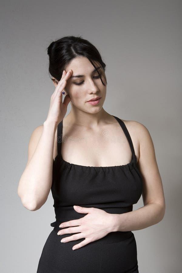 Mulher bonita com PMS foto de stock royalty free