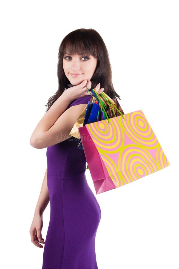 Download Mulher Bonita Com Sacos Shoping. Foto de Stock - Imagem de holding, pessoa: 12802396