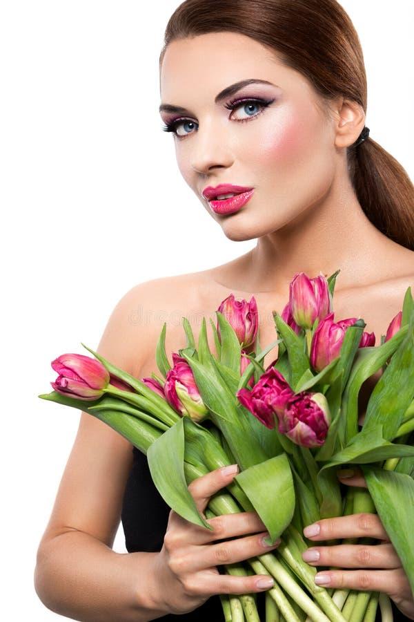 Mulher bonita com tulips fotos de stock royalty free