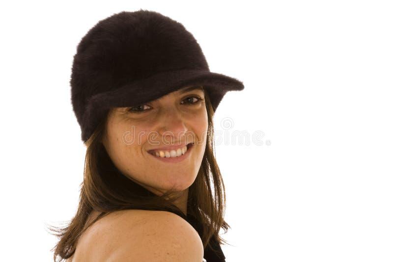 Mulher bonita com um chapéu negro fotos de stock royalty free