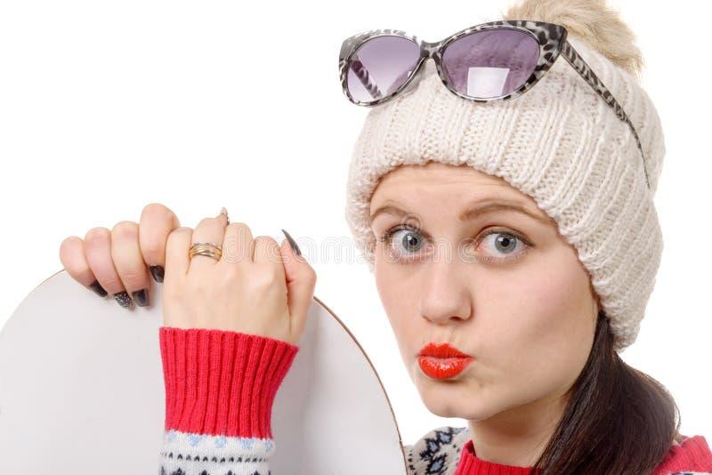 Download Mulher Bonita Com Um Snowboard No Estúdio Imagem de Stock - Imagem de neve, bonito: 65575291