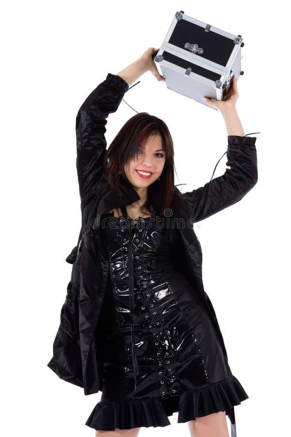 Mulher bonita com valise imagens de stock royalty free
