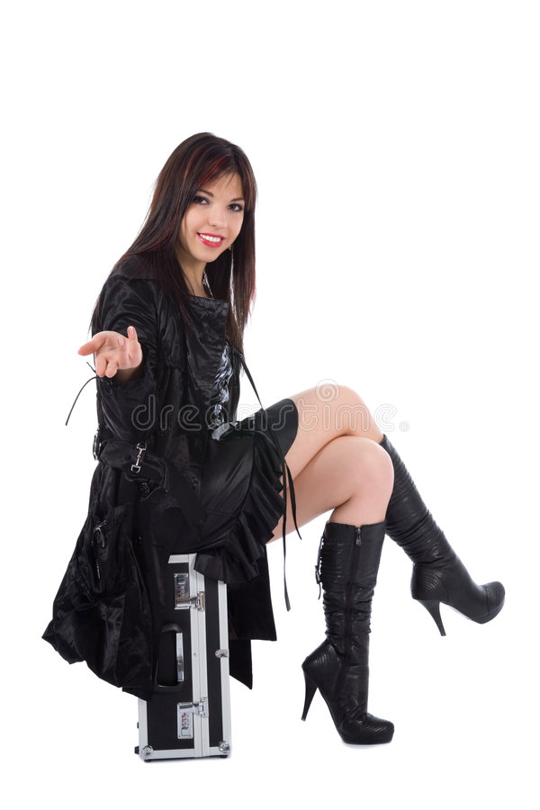 Mulher bonita com valise fotografia de stock