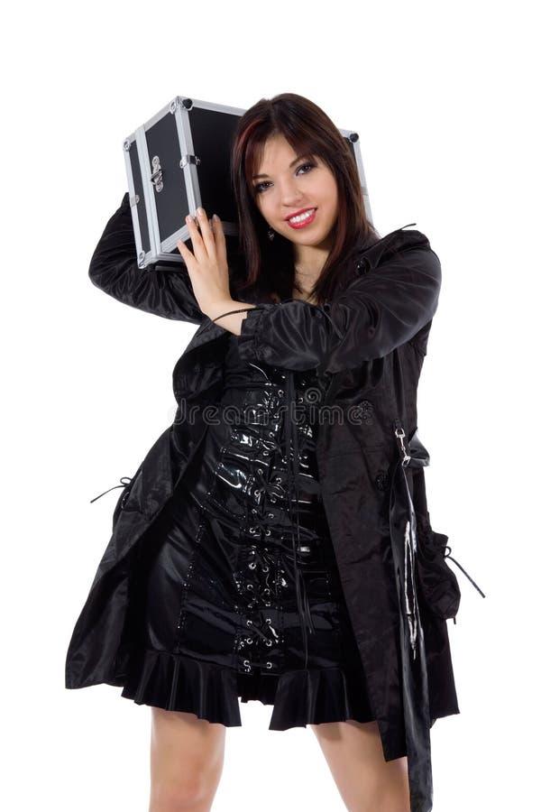 Mulher bonita com valise fotos de stock