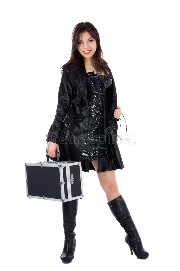 Mulher bonita com valise foto de stock