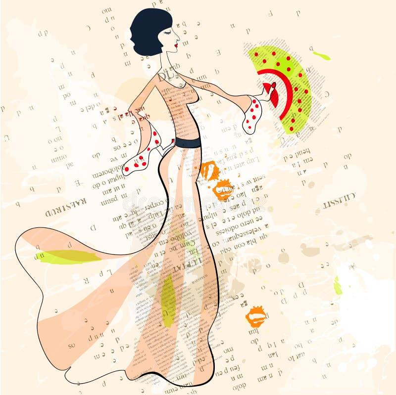 Mulher bonita com ventilador ilustração do vetor