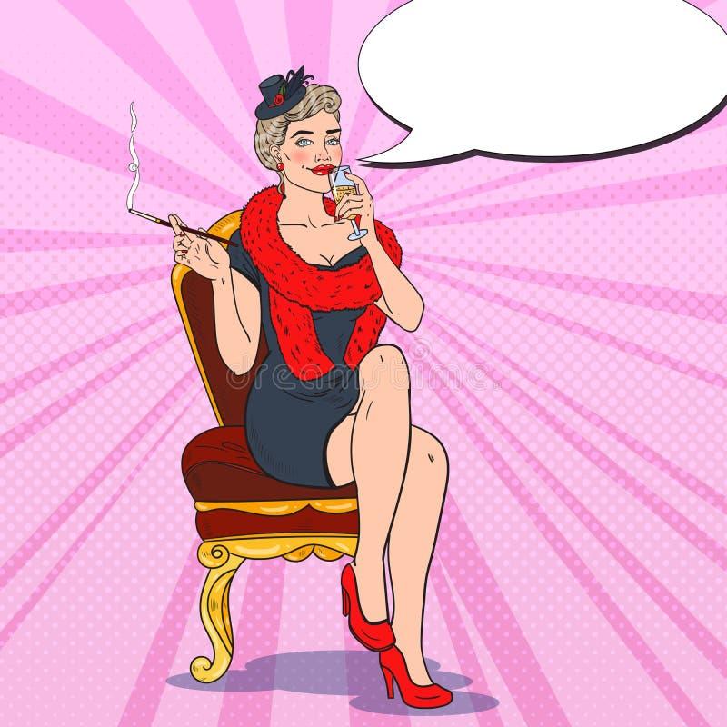 Mulher bonita com vidro do champanhe Fatale de Femme Ilustração retro do pop art ilustração stock