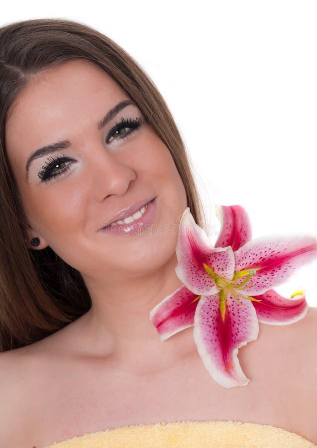 mulher bonita, conceito do tratamento da beleza, termas foto de stock royalty free