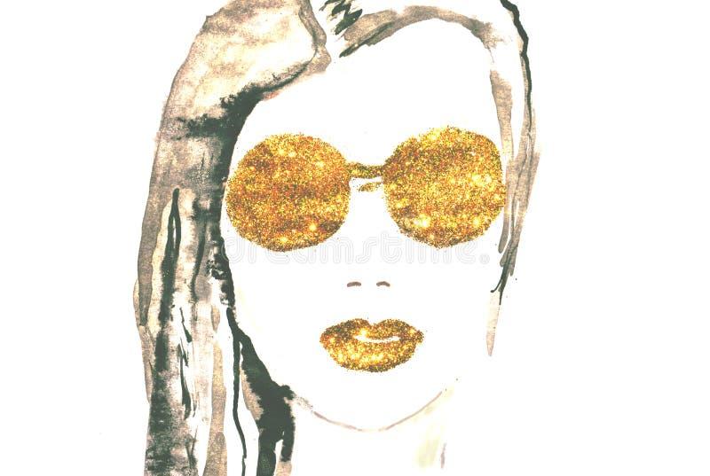 Mulher bonita da aquarela com os bordos e os monóculos de brilho dourados no fundo branco ilustração royalty free