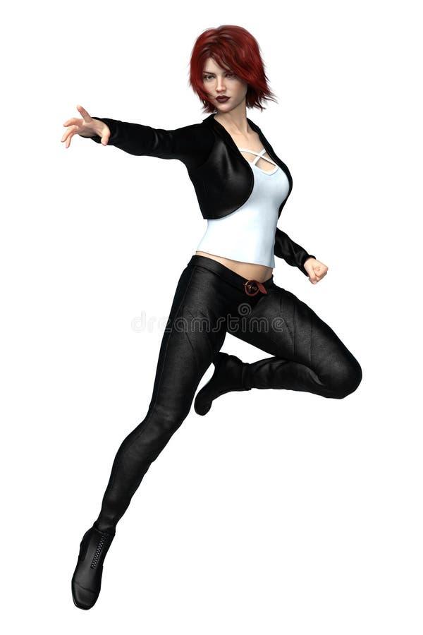Mulher bonita da fantasia 3D no couro preto isolado ilustração do vetor