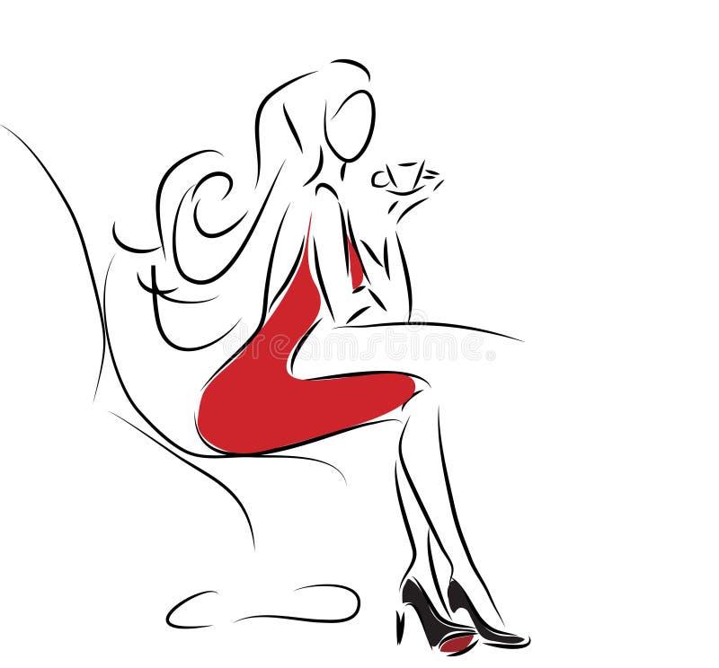 Mulher bonita da forma com copo de café ilustração royalty free