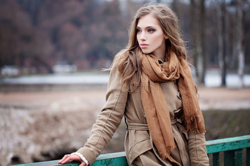 Mulher bonita da forma no lenço marrom fotos de stock