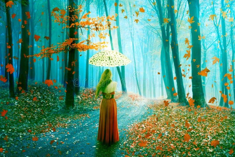 Mulher bonita da imagem da fantasia que anda na floresta no reino sonhador feericamente imagens de stock