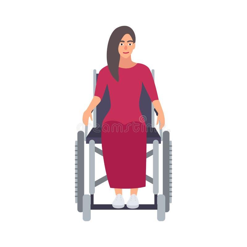 Mulher bonita de cabelos compridos nova que veste o vestido cor-de-rosa que senta-se na cadeira de rodas Personagem de banda dese ilustração do vetor
