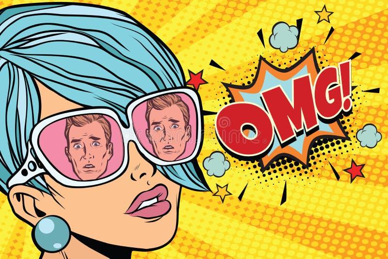 Mulher bonita de OMG, a reflexão dos homens nos óculos de sol ilustração do vetor