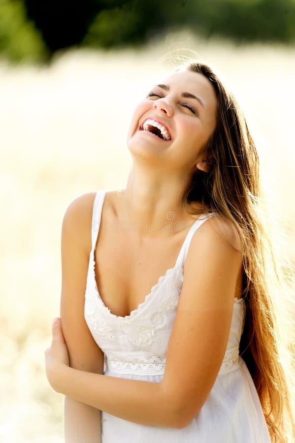 Mulher bonita de riso fotos de stock
