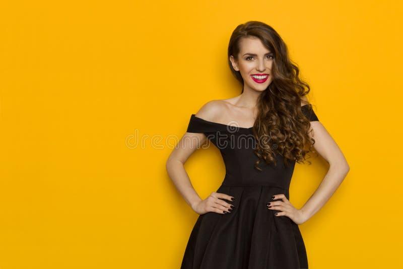 Mulher bonita de sorriso no vestido de cocktail preto elegante fotografia de stock royalty free