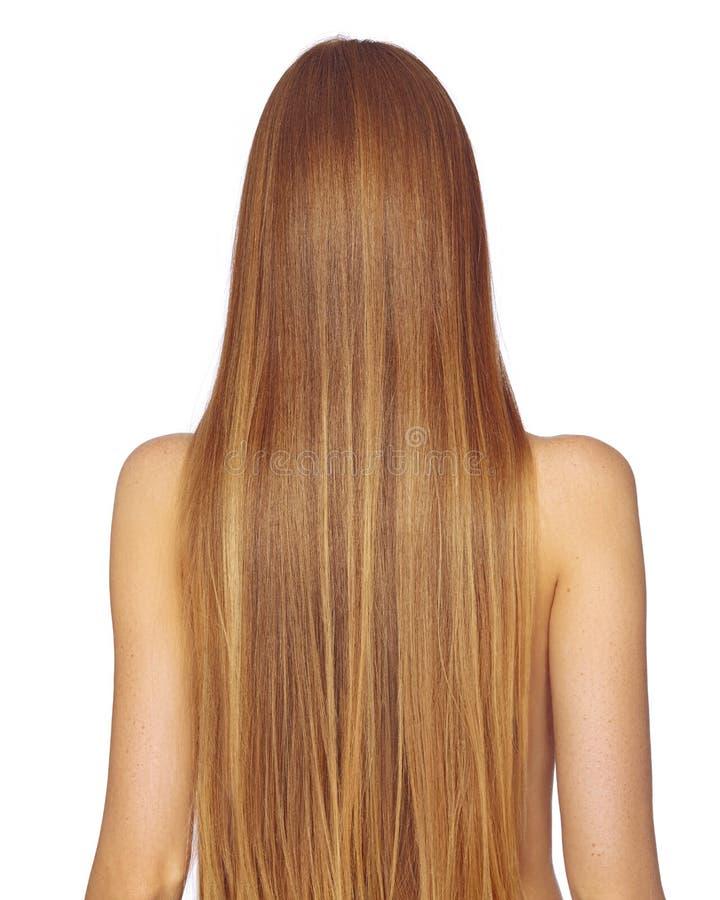 Mulher bonita de Yong com cabelo louro escuro por muito tempo reto Modelo de forma com penteado liso do brilho Tratamento de Kera imagens de stock