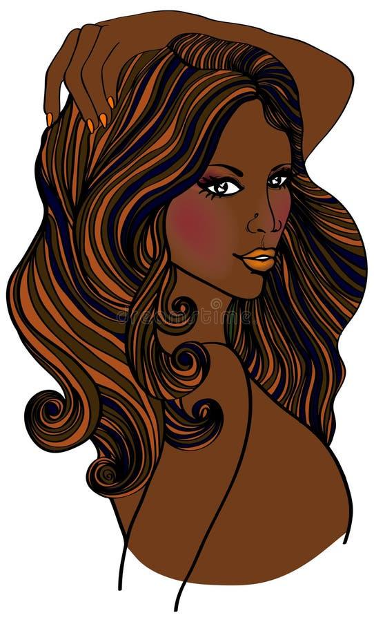Mulher bonita do americano africano ilustração royalty free