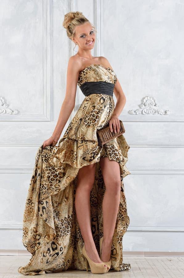 A mulher bonita do bonde no leopardo modelou o vestido longo. imagens de stock royalty free