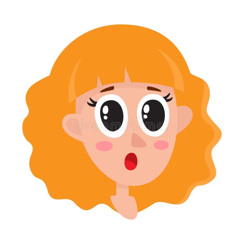 Mulher bonita do cabelo louro, expressão facial surpreendida ilustração do vetor