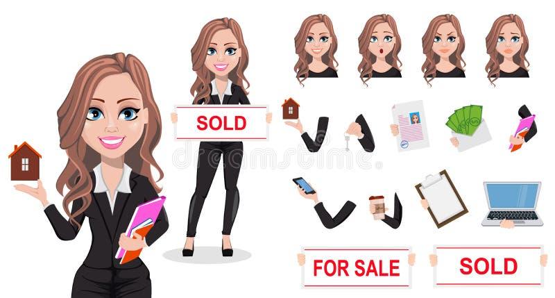 Mulher bonita do corretor de imóveis Um mediador imobiliário ilustração royalty free