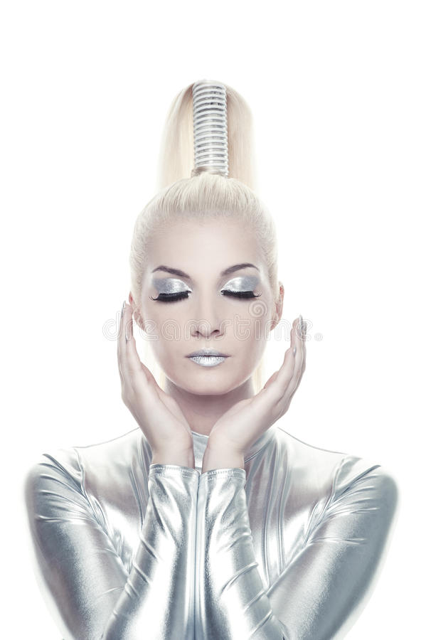 Mulher bonita do cyber imagens de stock royalty free