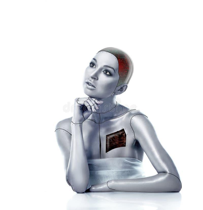 Mulher bonita do cyber com áreas selecionadas fotografia de stock royalty free