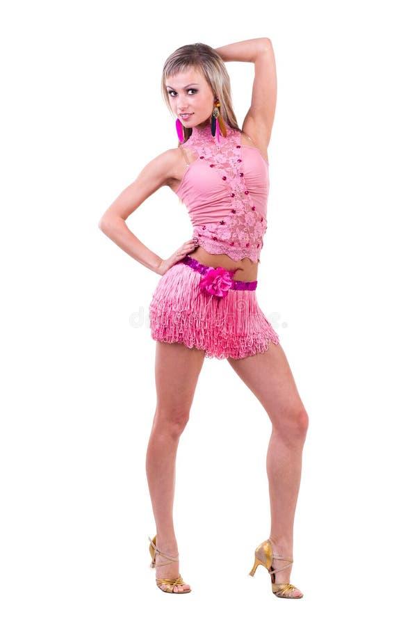 Mulher bonita do dançarino do Latino na ação Isolado fotografia de stock royalty free