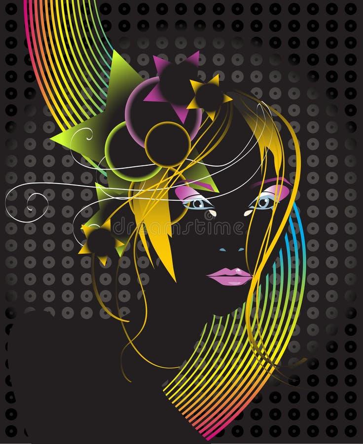 Mulher bonita do disco ilustração royalty free