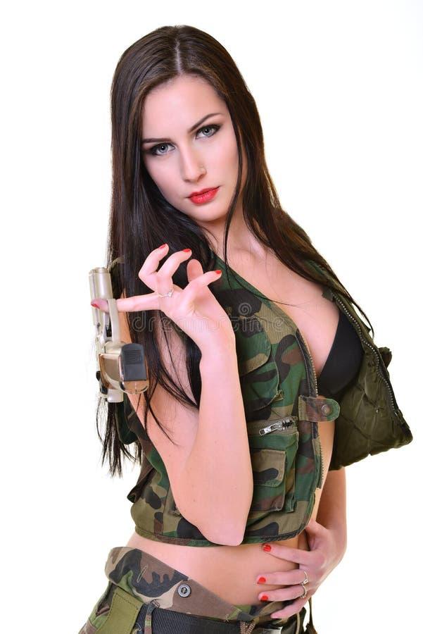 Mulher bonita do exército foto de stock